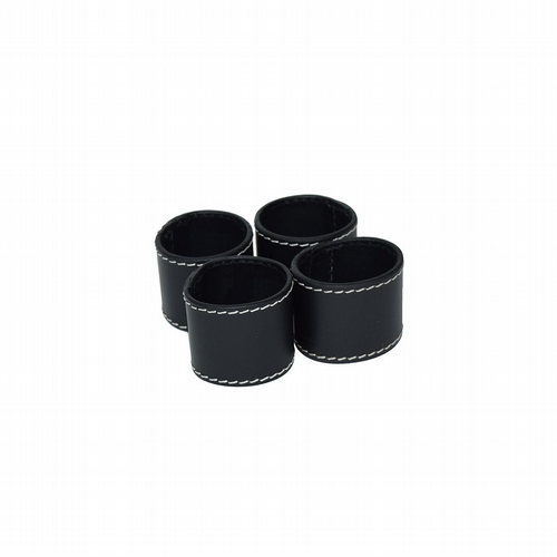 Leather Napkin Rings Set of 4 - Black